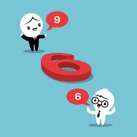 percepción: concepto de la filosofía de la ilustración con dos empresarios discutiendo si un número en el suelo es un 6 o un 9