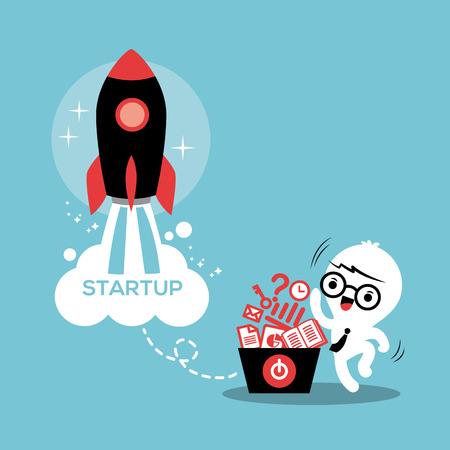 starting: Start up entrepreneur business success illustration Illustration