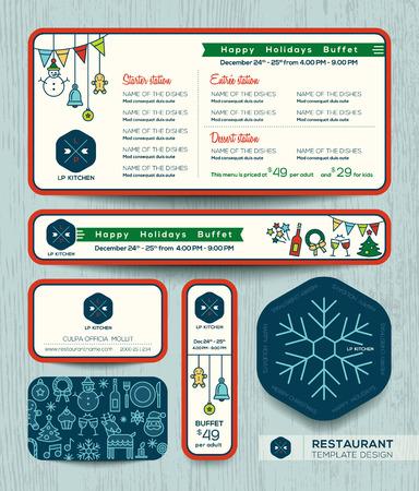 placemat: Christmas party restaurant menu set design template