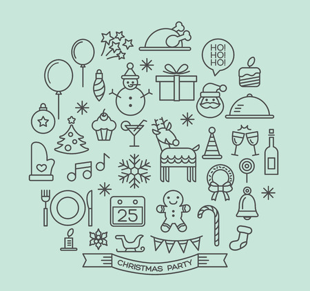 christmas sleigh: Christmas party elements outline icons set Illustration