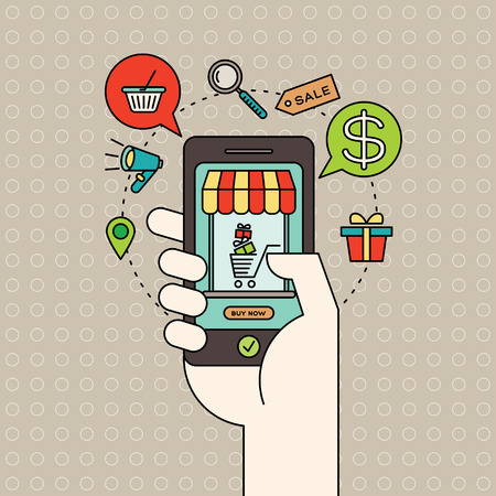 hand stop: colorful illustration with outline e-commerce icons and smart phone in hand with digital marketing online shopping concept Illustration