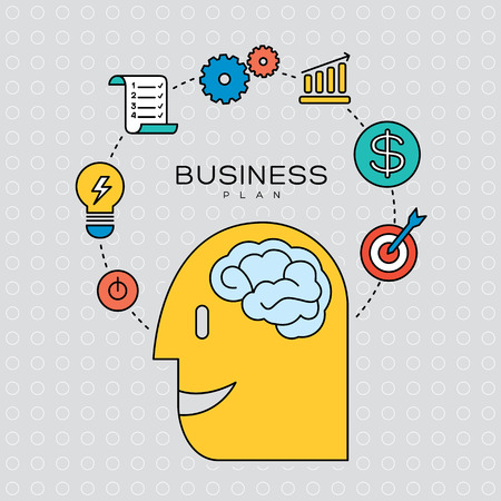 business finance: business plan concept outline icons illustration Illustration