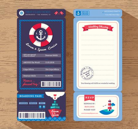 boarding card: Cruise Ship Boarding pass biglietto invito a nozze di progettazione del modello