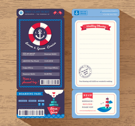ships: Cruise Ship Boarding Pass Ticket Wedding Invitation design Template