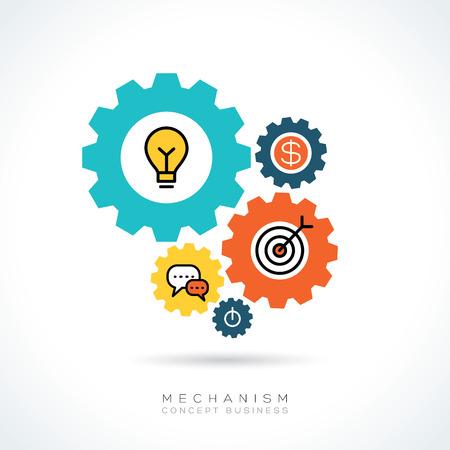 gears: Mecanismo de negocios en marcha concepto con coloridos iconos de engranajes ilustración Vectores