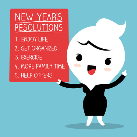 resolutions: Smiling businesswoman with new year resolutions list