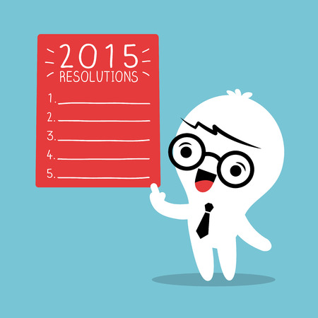 resolutions: Smiling businessman cartoon with 2015 new year resolutions list