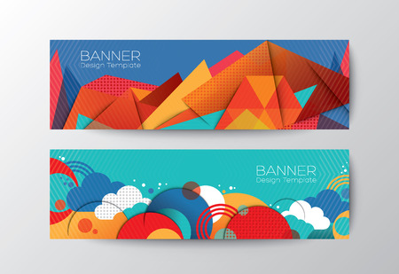website header: Abstract colorful polygon cloud banner design vector template