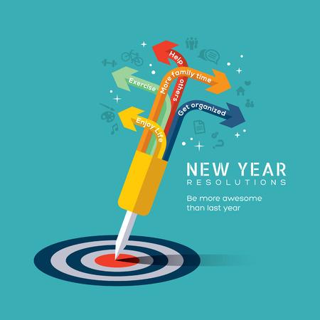 平らな設計アイコン スタイル ブルズアイ ターゲットの中心に固定された dart が新年の解像度概念図