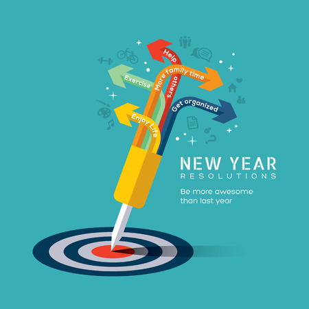 New year resolution concept illustration with dart pinned at center of bullseye target in flat design icons style Иллюстрация