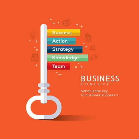 leadership key: Key to success flat design concept vector illustration
