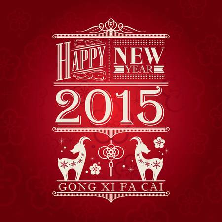 gong xi fa cai: Chinese new year of the goat 2015 design symbol on red background