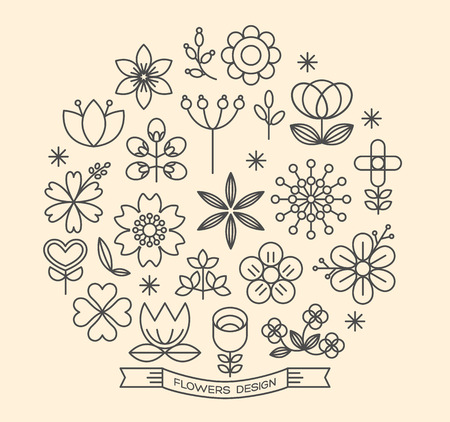 Flower icons with outline style vector design elements