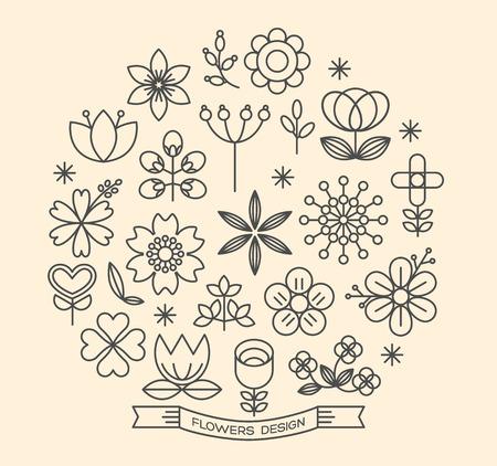 flor: Iconos de la flor con elementos de diseño de estilo de esquema vector