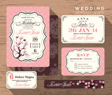 Vintagebröllopinbjudan scenografi Mall Vector plats kort svarskort spara daterakortet Illustration