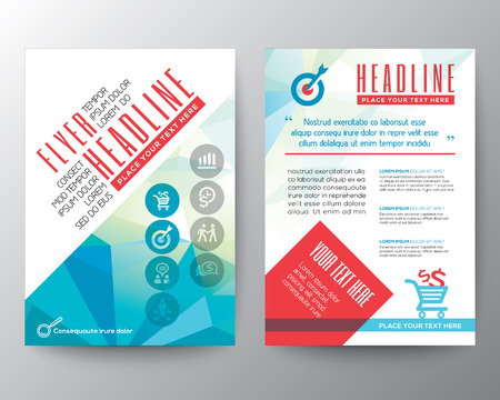 Abstract Typography polygon Brochure Flyer design Layout vector template in A4 size