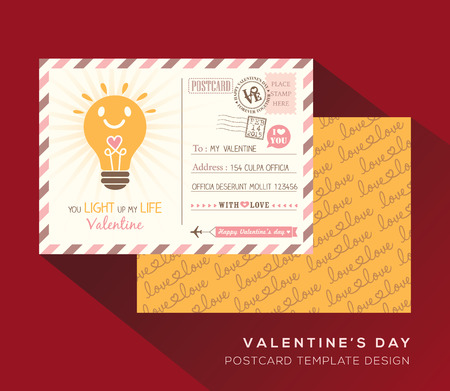 postcard back: Cute Valentine postcard Invitation design Vector Template