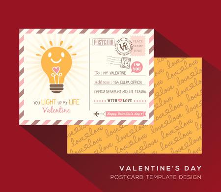 postcard back: Cute Valentine postcard Invitation design Vector Template