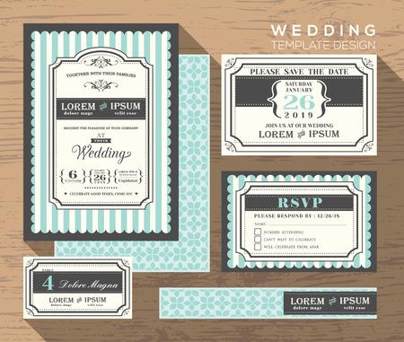 결혼식: 결혼식 초대장 세트 디자인 서식 장소 카드 응답 카드는 날짜 카드를 저장 일러스트