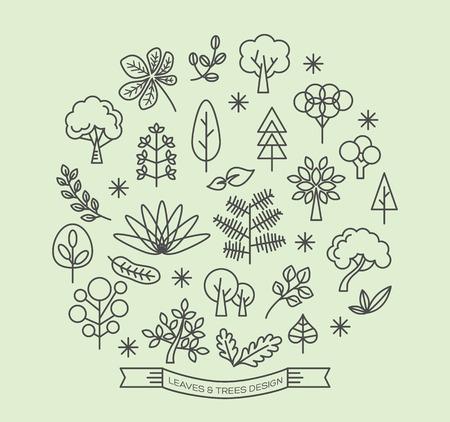 hojas de arbol: Las hojas y los �rboles de iconos con elementos de dise�o de estilo de esquema vector