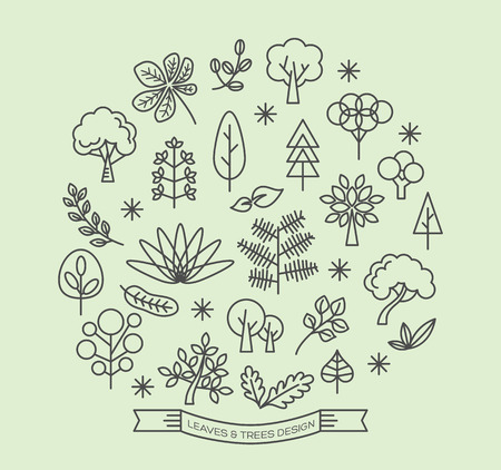 the tree to blossom: Leaves and Trees icons with outline style vector design elements
