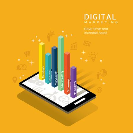 mercadeo en red: concepto de medios de comunicaci�n de marketing digital con el gr�fico en el tel�fono inteligente ilustraci�n vectorial