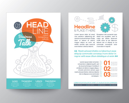 Brochure Flyer design Layout vector template with business concept illustration in A4 size Illustration