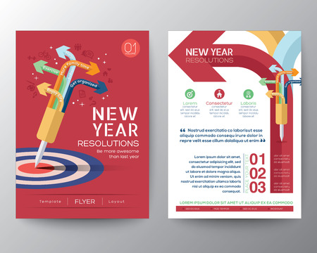 new years resolution: Brochure Flyer design Layout vector template in A4 size with New Year Resolutions target concept