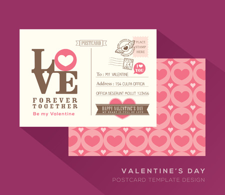 Cute Valentine Postcard Invitation Design Vector Template Royalty
