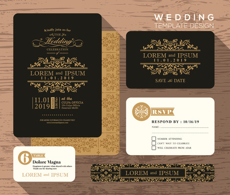 date: Vintage classic wedding invitation set design Template Vector place card response card save the date card