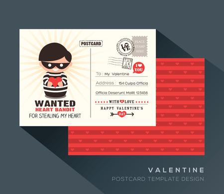 postcard back: Cute Red Valentine Heart Bandit postcard card design Vector Template Illustration