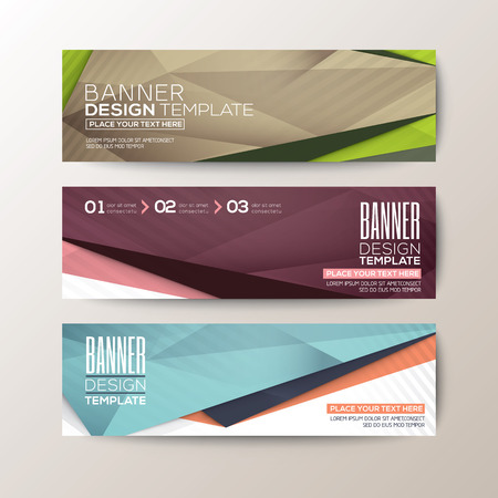 Set of modern design banners template with abstract triangle polygon vector elements
