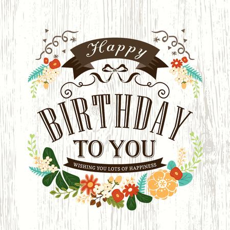 auguri di compleanno: Disegno sveglio Scheda di buon compleanno con fiori nastro banner e frame Vettoriali