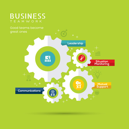 gears: Business Teamwork Concept with Gear icons vector Illustration