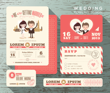 cartoon human: Cute groom and bride couple wedding invitation set design Template Vector response card save the date card