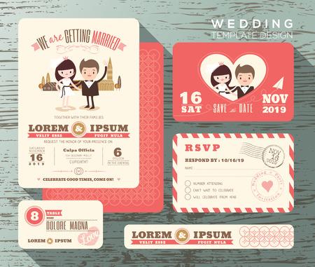 Söt brudgummen och bruden par bröllop inbjudan scenografi mall vektor svarskort spara daterakortet Illustration