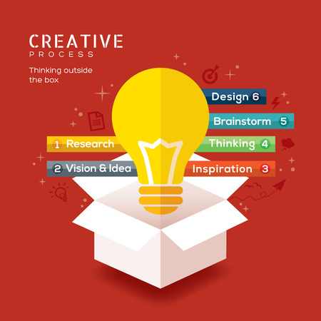 light box: think outside the box creative idea vector illustration Illustration