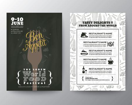Food Festival Cartel Folleto Flyer plantilla de diseño de vectores Layout Foto de archivo - 36542191