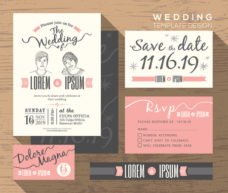 Vintage Wedding Invitation Set Design Template Vector Place Card