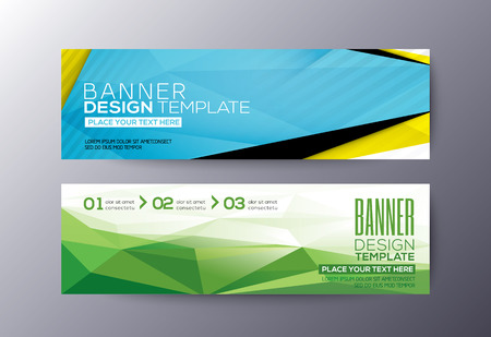 horizontal banner: Set of modern design banners template with abstract triangle polygon vector elements