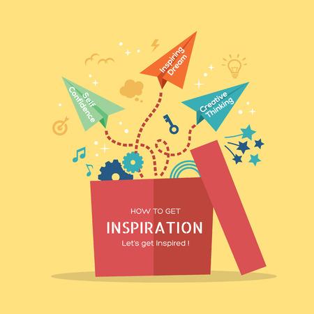Inspiratie begrip vector Illustratie met papieren vliegtuigje vliegen uit de doos Stock Illustratie
