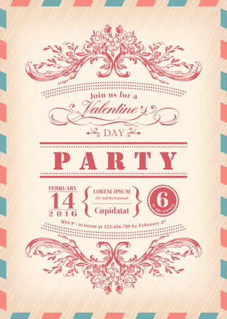 airmail: Valentine day card party invitation with vintage frame and airmail border