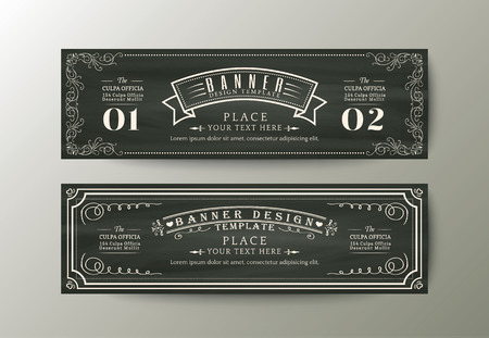 template: Classic style banner design template with Vintage floral frame on chalk board