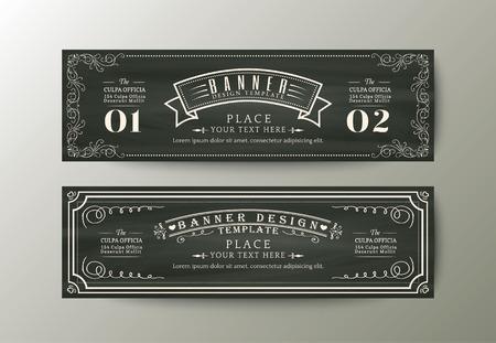 sjabloon: Klassieke stijl banner ontwerp sjabloon met Vintage floral frame op krijtbord
