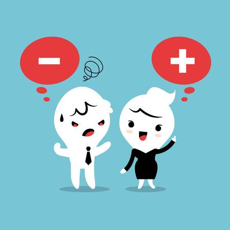 Positief en negatief denken vector cartoon illustratie
