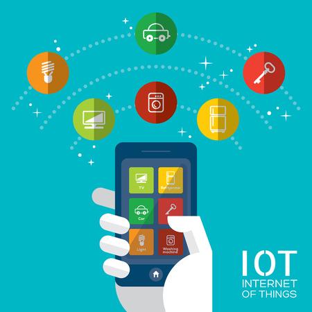Internet van de dingen concept illustratie, Controle van uw huishoudelijke apparaten met smartphone