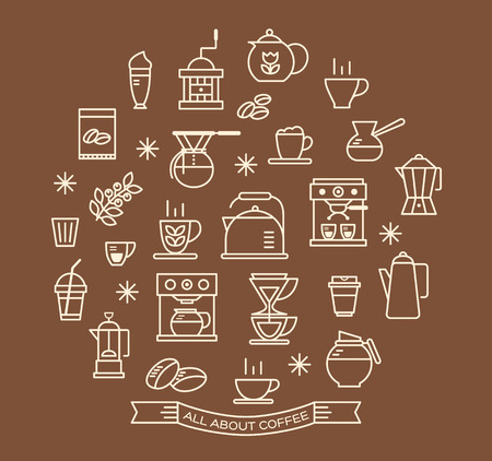 cold coffee: Coffee outline icons set