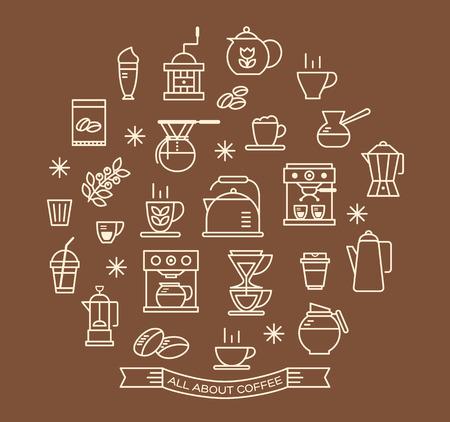 semilla de cafe: Iconos contorno Juego de café