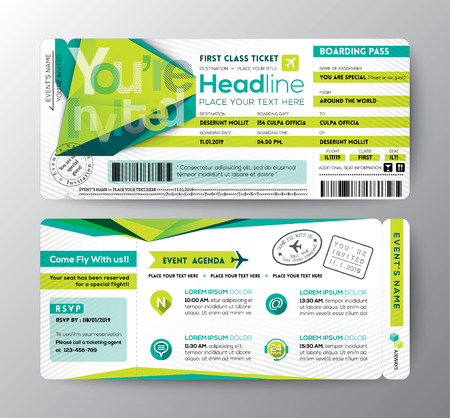 coupon: Abstract Polygon design Boarding Pass Event Ticket Invite card vector Template