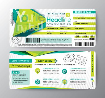 boarding card: Estratto Poligono disegno carta d'imbarco Ticket Evento Invita carta vettoriale Template